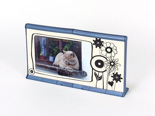 3D Puzzle photo frame Photowall blue back